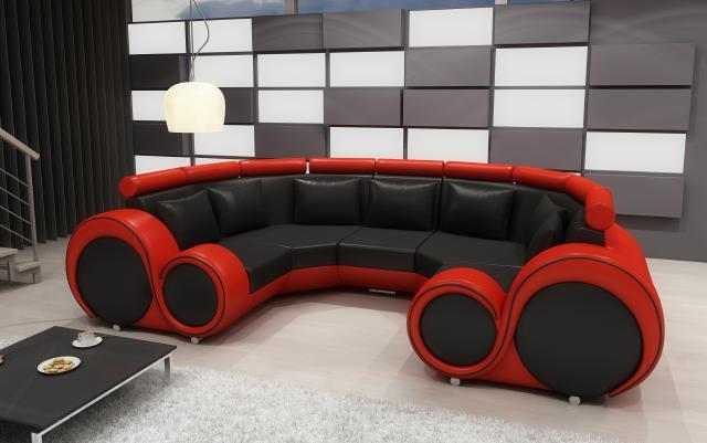 Xxl wohnlandschaft ledersofa design polster garnitur couch for Wohnlandschaft rot schwarz