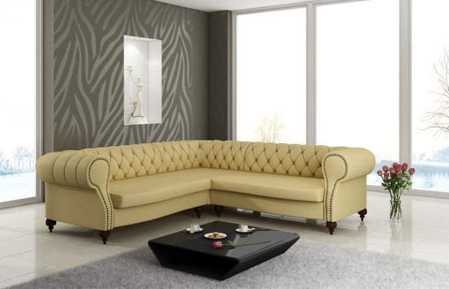 Chesterfield ecksofa stoff  CHESTERFIELD LEDER SOFA ENGLISCH DESIGN LEDERCOUCH ECK COUCH ...