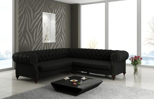 chesterfield leder sofa englisch design ledercouch eck couch garnitur ecksofa ebay. Black Bedroom Furniture Sets. Home Design Ideas