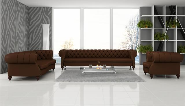 Jvmoebel ledersofa chesterfield sofa charly 5 4 1 sitzer for Wohnlandschaft 3m