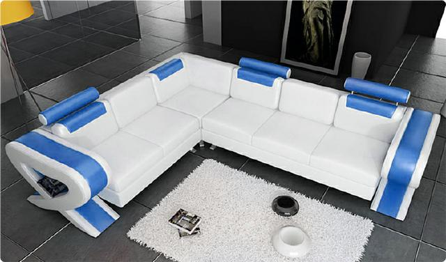 sofort lieferbar ecksofa ledersofa garnitur leder weiss blau couch l255xr315 ebay. Black Bedroom Furniture Sets. Home Design Ideas