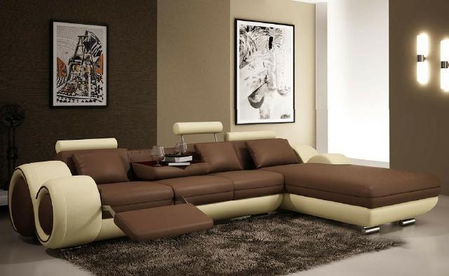 Ledersofa modern beige  JVmoebel - Ledersofa Couch Sofa Ecksofa Modell Berlin II