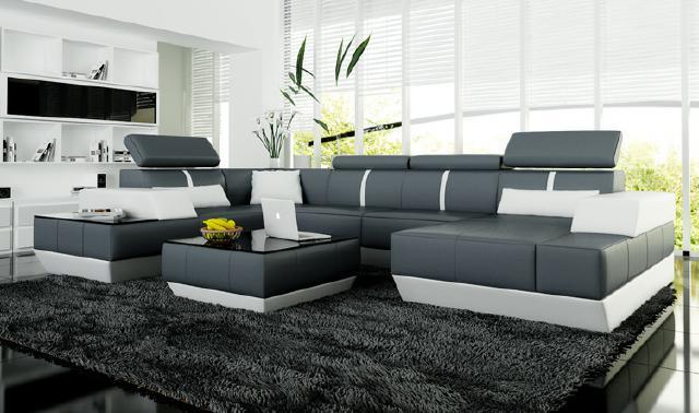 ledersofa wohnlandschaft u form couch. Black Bedroom Furniture Sets. Home Design Ideas