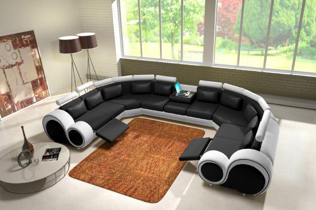 Modernes ecksofa  JVmoebel - Ledersofa Couch Sofa Ecksofa Modell Berlin IV U-Form