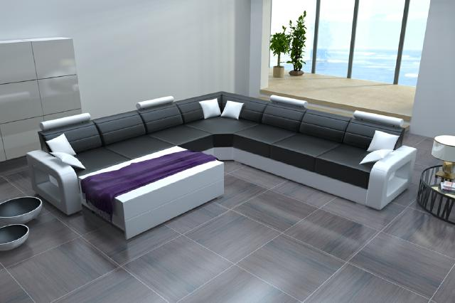 big sofa ledersofa schlafsofa ecksofa ledercouch mit bettfunktion wohnlandschaft ebay. Black Bedroom Furniture Sets. Home Design Ideas
