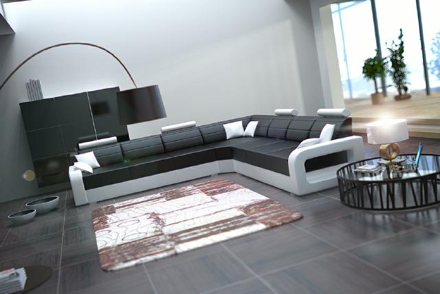 ledercouch mit bettfunktion wohnlandschaft big sofa ledersofa schlafsofa ecksofa ebay. Black Bedroom Furniture Sets. Home Design Ideas