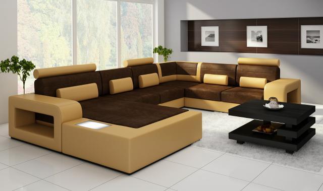 Wohnlandschaft Couch Sofa Sofagarnitur Stoff Textil Leder Sofa MIT ...