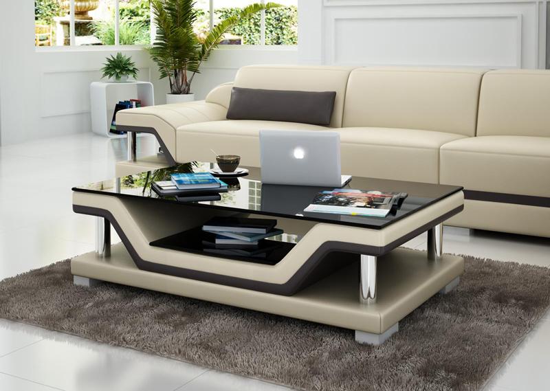 Design glastisch leder couch tisch tische glas sofa wohnzimmertische neu ct9003s ebay for Designer glastisch