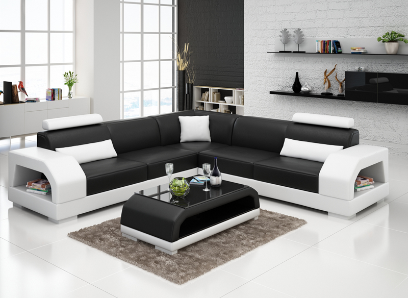 design ledersofa sofa couch polster sitz eck garnitur wohnlandschaft neu g8001b ebay. Black Bedroom Furniture Sets. Home Design Ideas