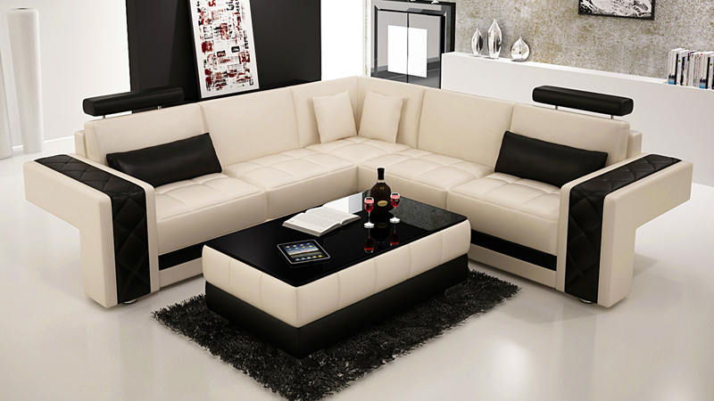 ledersofa couch wohnlandschaft ecksofa eck garnitur design modern sofa l6010b ebay. Black Bedroom Furniture Sets. Home Design Ideas