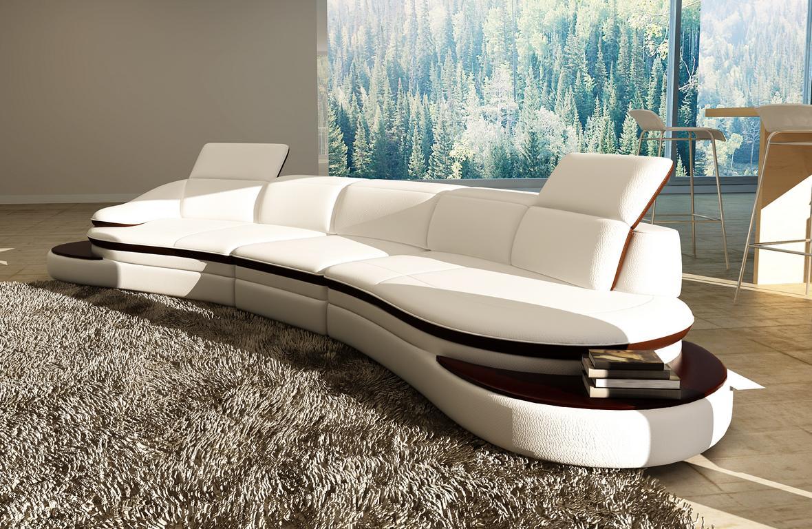Halb runde leder sofa ecksofa wohnlandschaft rund couch for Couchgarnitur leder italienisch