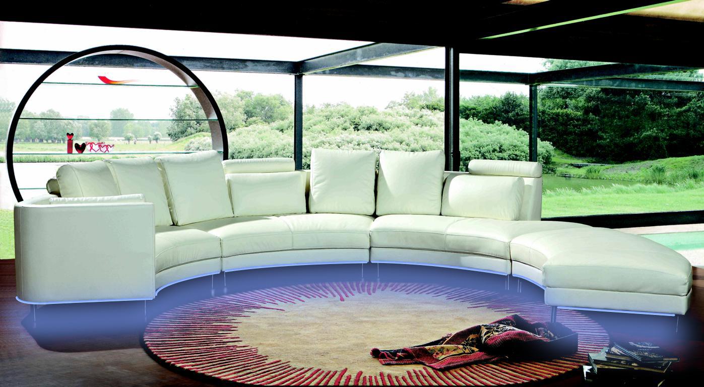 Moderne rund couch wohnlandschaft runde sofa polster eck for Couchgarnitur leder italienisch