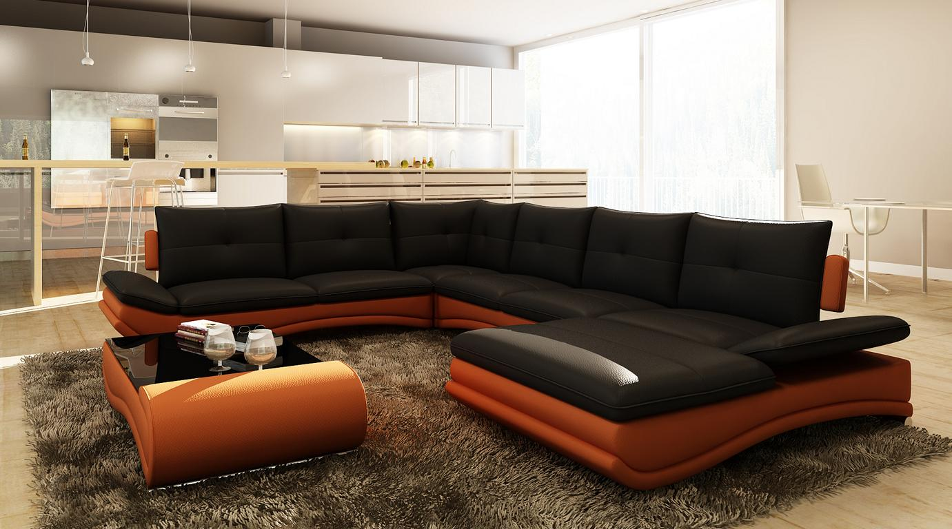 leather sofa xxl u shaped living room couch big corner ebay. Black Bedroom Furniture Sets. Home Design Ideas