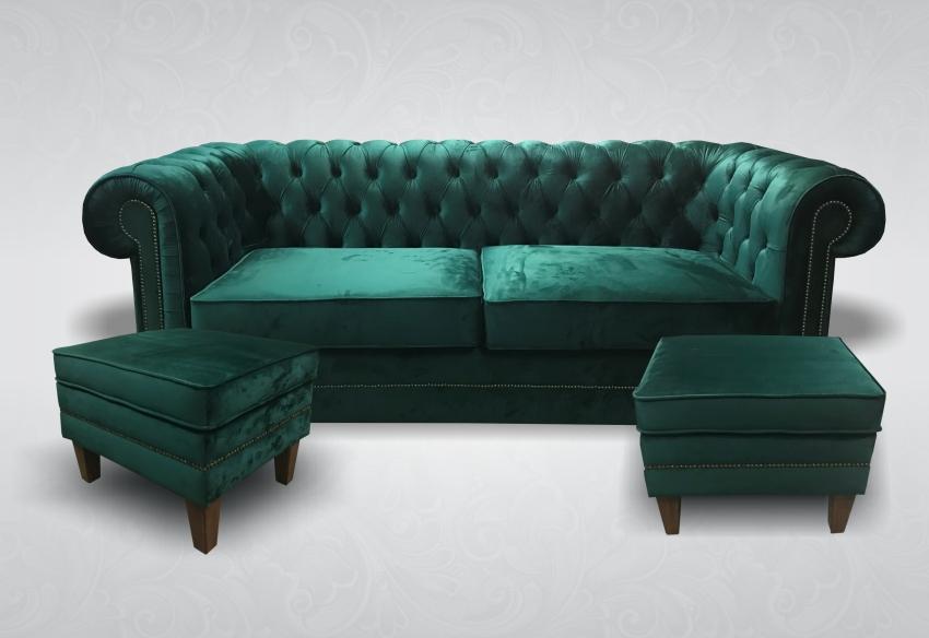 Chesterfield 3-Sitzer XXL Big Sofa Stoff Hocker ...