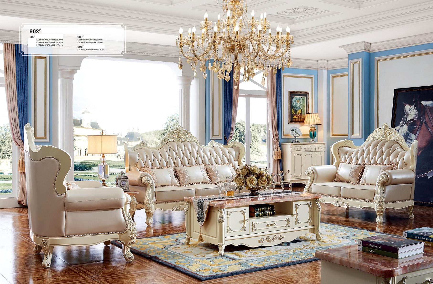 Luxus m bel stil klassische sofagarnitur ledersofa polster for Klassische mobel ebay