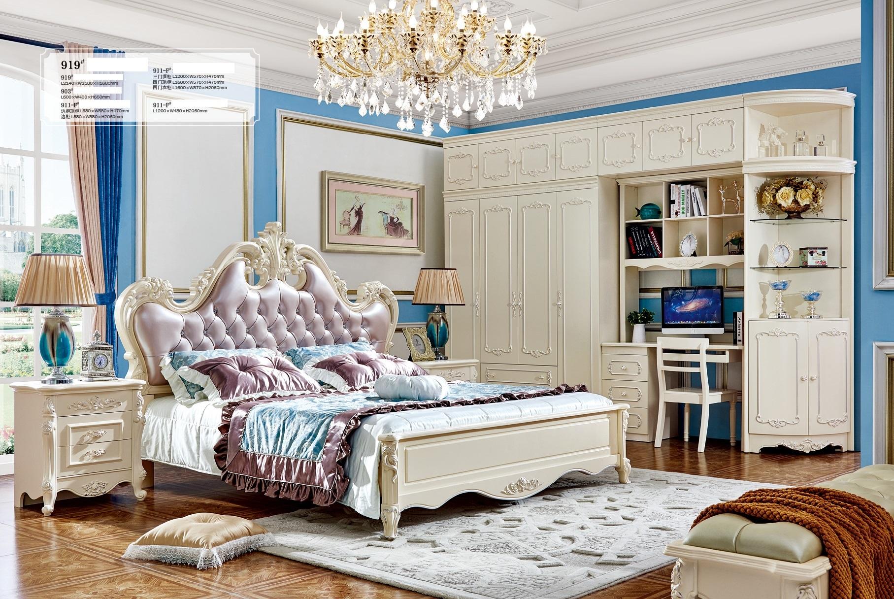 Luxus Europäischen Und Amerikanischen Stil Schlafzimmer Möbel Set Leder Bett Wohnmöbel